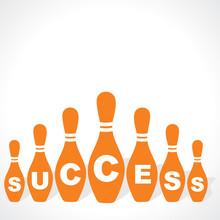 Bowling Pins Make Success Word...