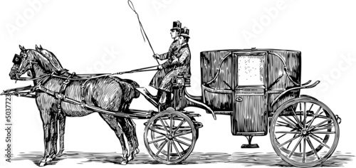 Foto Old horse-drawn carriage