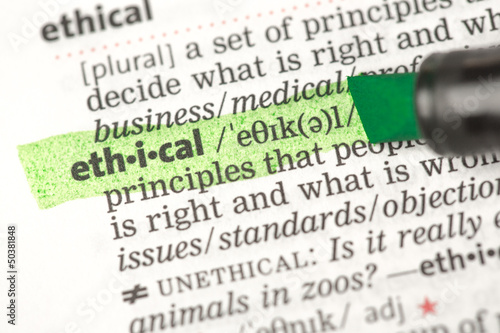 Fotografie, Obraz  Ethical definition highlighted in green