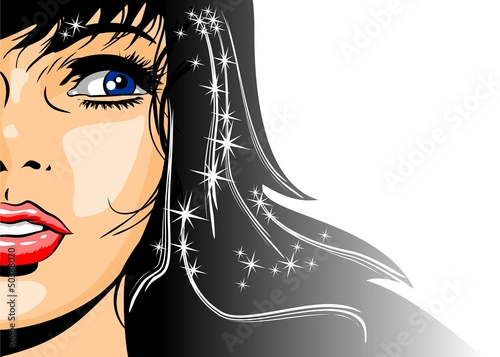 Illustration of brunette woman