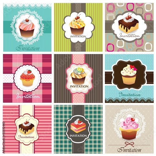 Set of cupcake cards template Poster