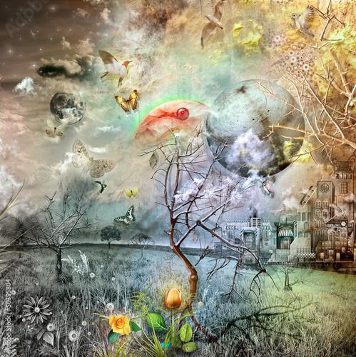Aluminium Prints Imagination Wonderland with Golden tulip