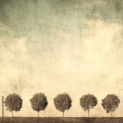 Photo sur Toile Retro grunge image of trees
