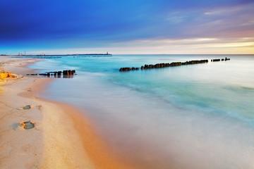 Fototapeta Morze Beach in Poland - Baltic sea at sunrise