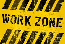Work Zone Sign, Worn And Grnugy, Vector Scalable