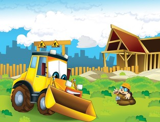 Obraz na płótnie Canvas The cartoon digger - illustration for the children