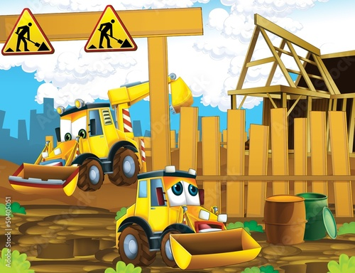 Recess Fitting Cars The cartoon digger - illustration for the children