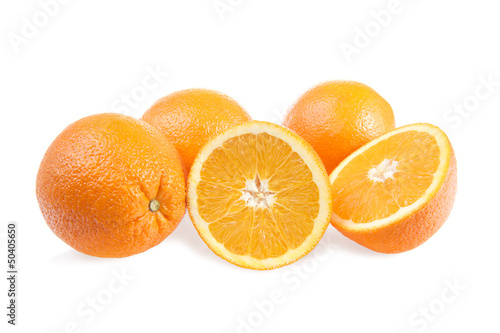 Photo Stands Slices of fruit Fresh oranges, isolated on white background