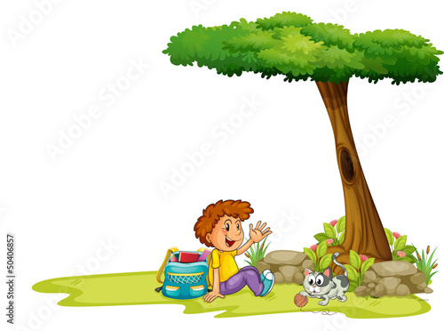 Printed kitchen splashbacks Cats A boy and his cat under the tree