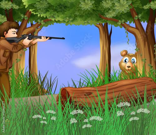 Wall Murals Bears A hunter and a scared bear