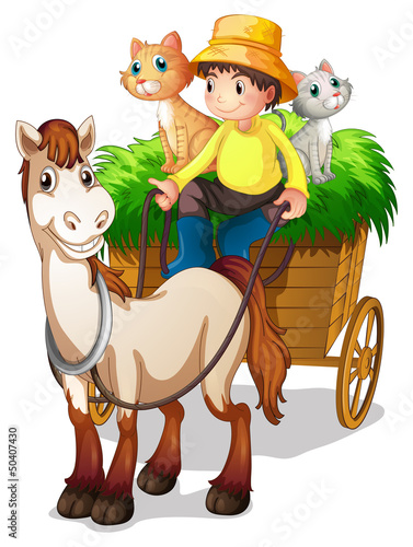 A farmer riding in a strawcart with his farm animals