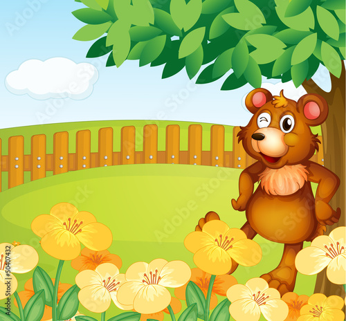 Foto op Plexiglas Beren A bear standing near the flowers