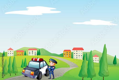 Aluminium Prints River, lake A policeman and his patrol car at the street