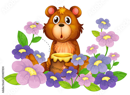 Fotobehang Beren A bear holding a honey in the flower garden