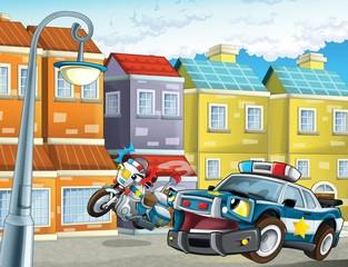 Policijski službenici automobila - ilustracija za djecu