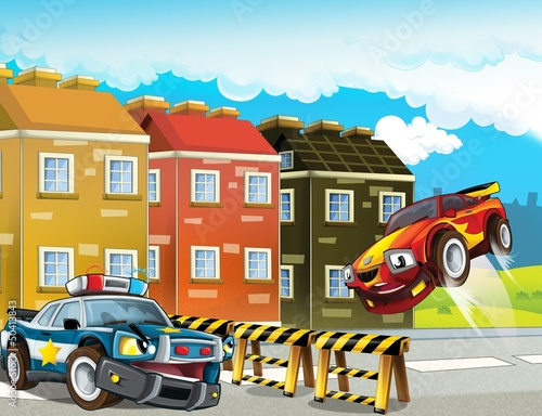 Foto op Canvas Cars The police car officers - illustration for the children