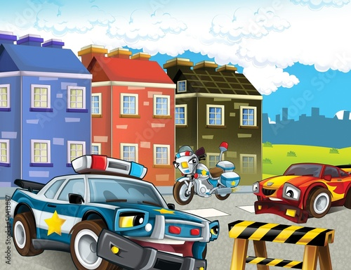 Recess Fitting Cars The police car officers - illustration for the children