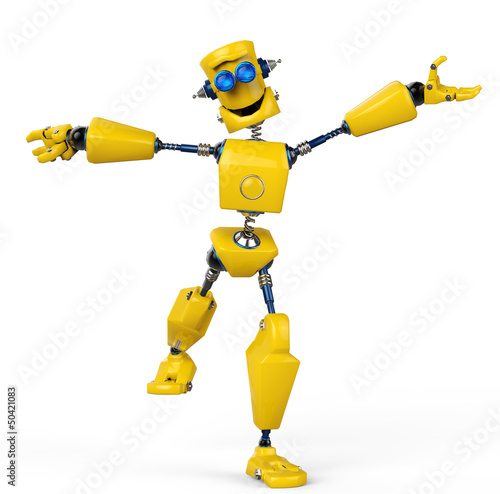 yellow robot is happy