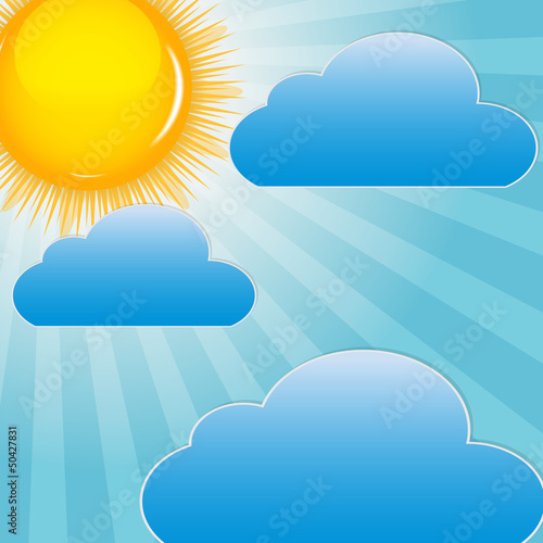 Poster de jardin Ciel Cloud and sunny background vector illustration
