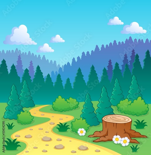Stickers pour porte Forets enfants Forest theme image 2
