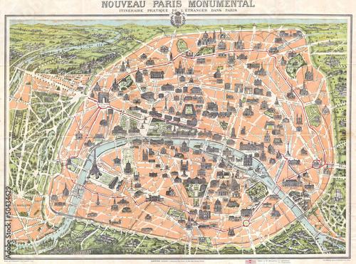 Paris vintage map Wallpaper Mural