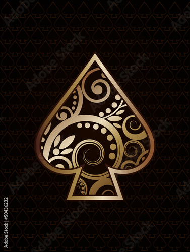 Spade´s ace poker playing cards, vector illustration плакат
