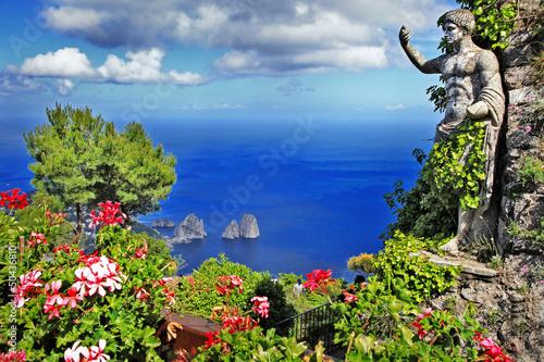 Garden Poster Napels beautiful Capri island, Italy