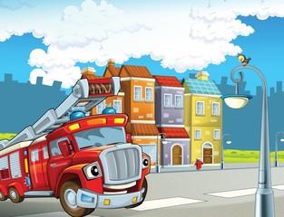 Obraz na płótnie Canvas The red firetruck - duty - illustration for the children