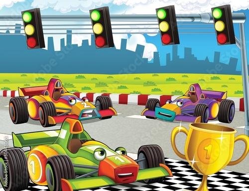 Keuken foto achterwand Cars The formula race - super car - illustration for the children