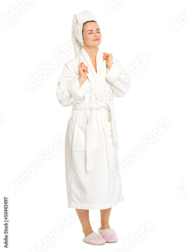 Fotografie, Obraz  Full length portrait of relaxed young woman in bathrobe