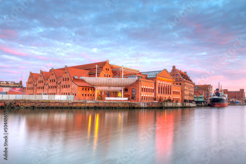 Baltic Philharmonic in Gdansk at sunset, Poland
