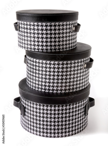 Photo  Set of houndstooth check and black leather bandboxes