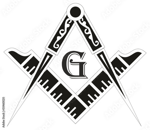 Photo  Freemasonry emblem - the masonic square and compass symbol,