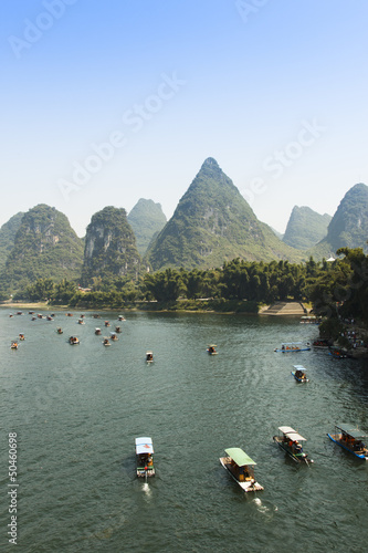 Tuinposter Guilin Sunset landscpae of yangshuo in guilin,china