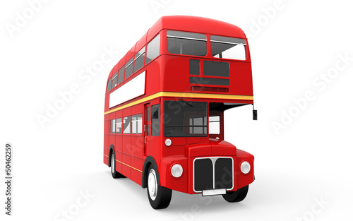Red Double Decker Bus Isolated on White Background Tablou Canvas