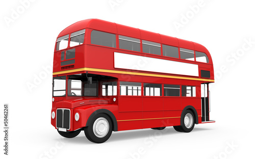 In de dag Londen rode bus Red Double Decker Bus Isolated on White Background