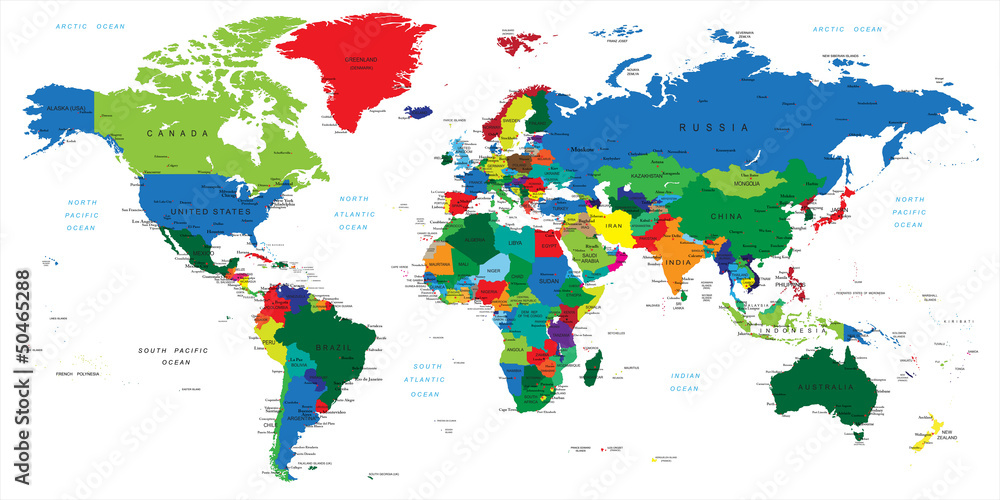 Fototapety, obrazy: World map-countries