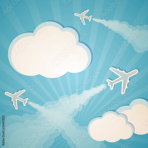 Poster de jardin Ciel blue background with planes