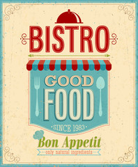 Obraz na Szkle Do baru Vintage Bistro Poster. Vector illustration.