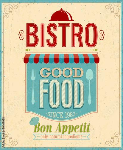 Papiers peints Affiche vintage Vintage Bistro Poster. Vector illustration.