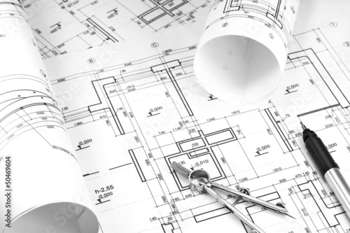 Construction drawings - Buy this stock photo and explore