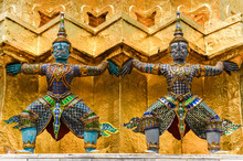Detail Of Statues In Grand Palace Temple, Bangkok