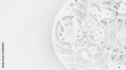 Fototapeta White clock mechanism obraz