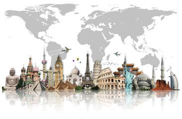 Fototapeta Do szkoły Travel the world monuments concept