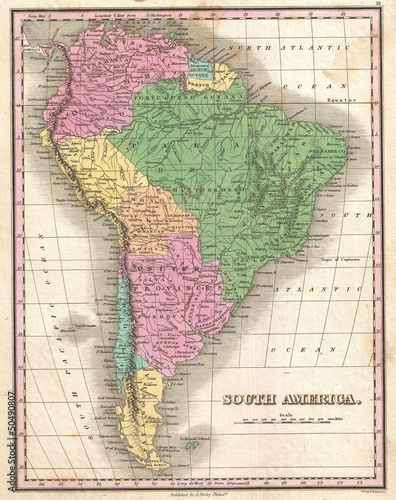 Poster Carte du monde South America vintage map