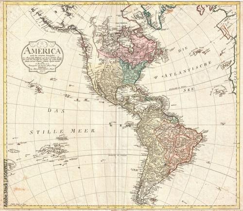 Poster Carte du monde Americas vintage map