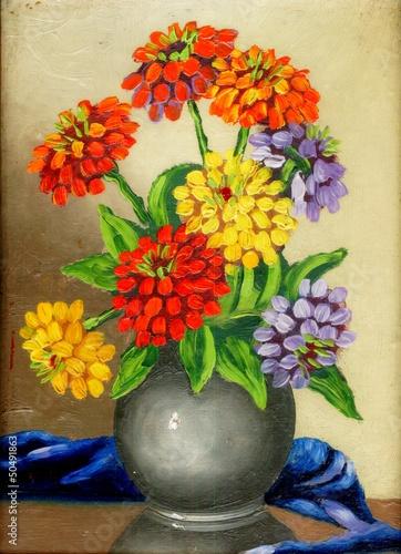 olej-na-plotnie-bukiet-kwiatow-w-glinianym-wazonie