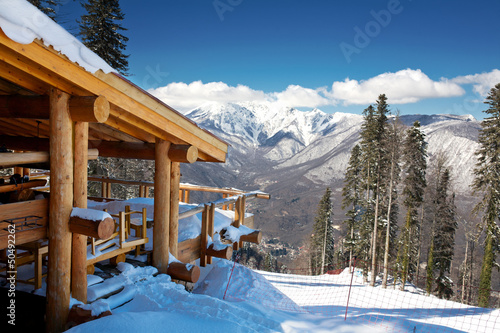 Fotografie, Obraz  Wooden ski chalet in snow, mountain view