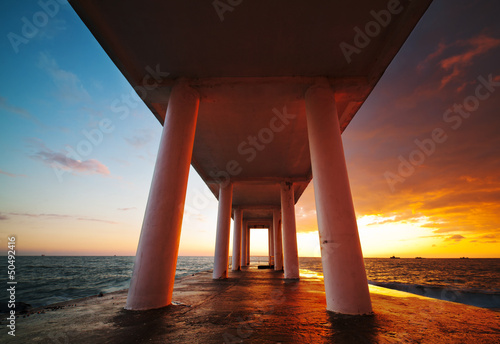 Garden Poster Brown Beach Pier Sunset, seascape
