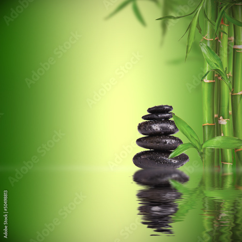 Fotografija  Spa still life with lava stones and bamboo sprouts